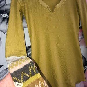 Free People Tops - Free People Yellow Cuffed Thermal